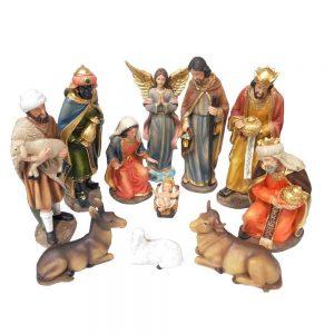 presepe in resina cm 30 composto da 11 statue